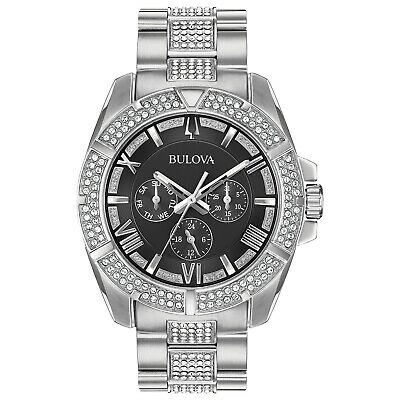 Bulova Men's 96C126 Octava Crystal Accents Silver-Tone Bracelet 44mm Watch