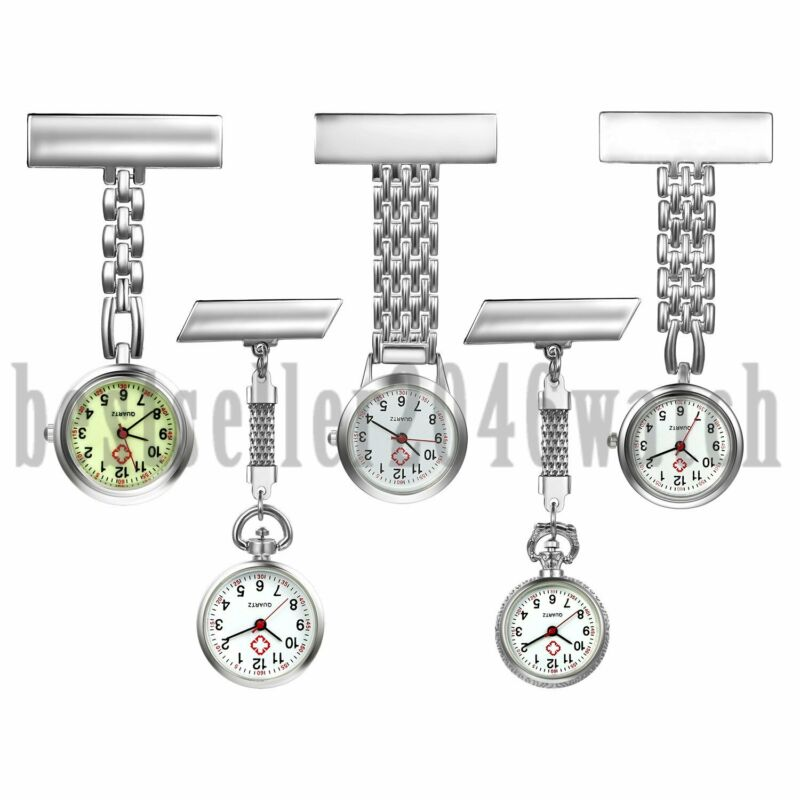 Metal Clip on Doctor Medical Nurse Watch Pin Brooch Tunic Fob Quartz Watches