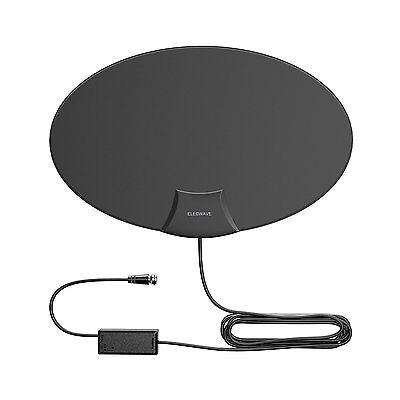 Elecwave 70 Mile Range Thin Indoor HDTV Amplified HD TV Antenna 10FT Coax Black