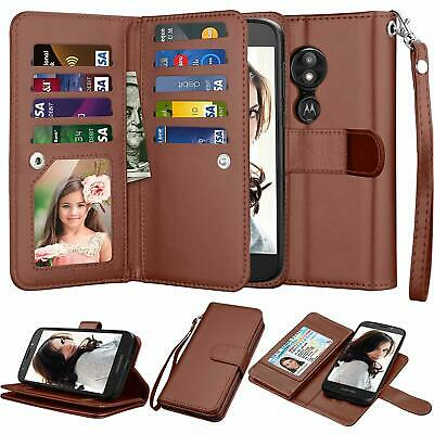 For Motorola Moto E5 Play/E5 GO/Cruise Leather Wallet Flip Protective Case Cover (Play Magnets)