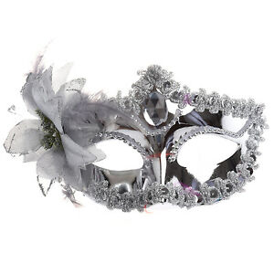Princess Silver Eye Costume Masquerade Mardi Mask Fancy Dress Costume Ball UK
