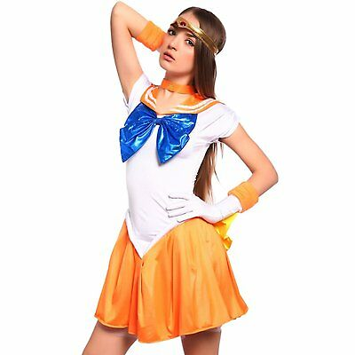Sailor Moon: Venus Serena Costume Dress Complete Set for Cosplay Halloween Party - Sailors Halloween Costumes