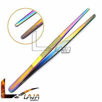 Thumb Tweezers Dressing Forceps 5 Serrated Multi Color Stainless Steel