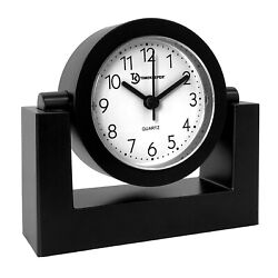 Computer Desk Clock Small Battery Operated Home Office Tabletop Quartz Quiet