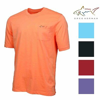 Greg Norman Mens 100% Cotton T-Shirt with Front Chest Pocket