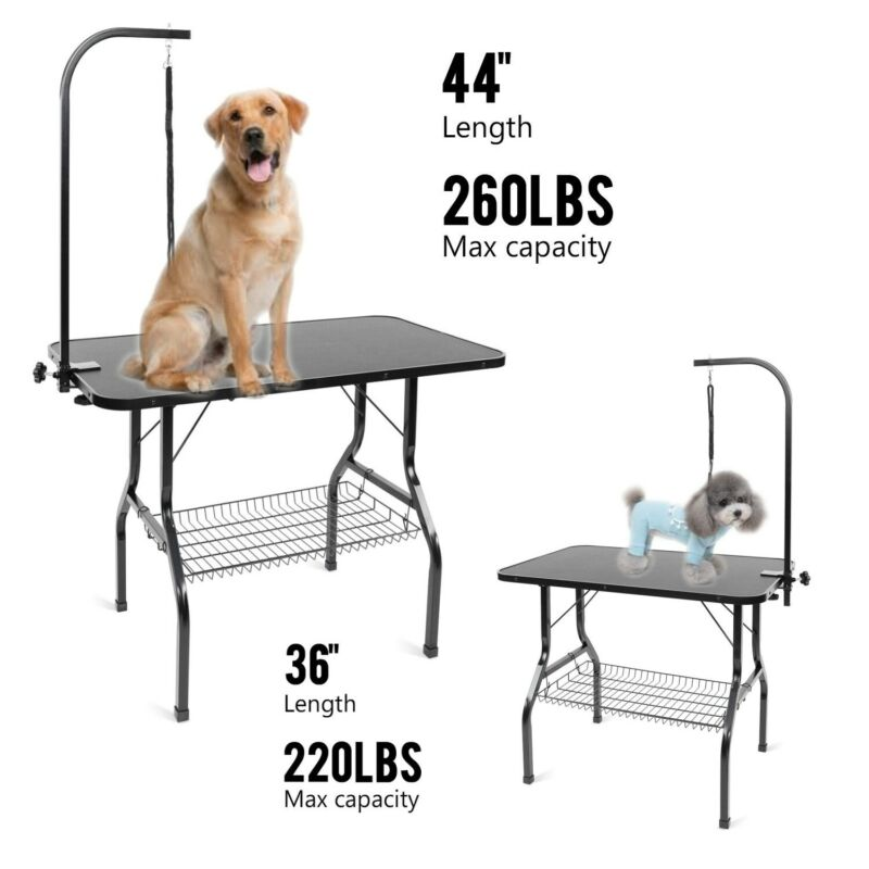 """36""""/44"""" Pet Dog Grooming Table Heavy-Duty Foldable Adjustable Arm Portable Table"""