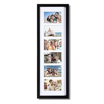 """Black Wood Wall Hanging Picture Photo Frame with Divided Mat, 6 Openings, 3.5x5"""""""