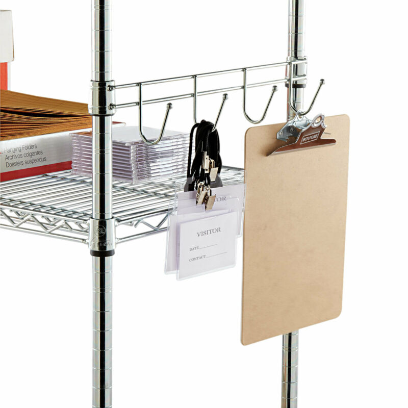 """Alera Hook Bars For Wire Shelving, Four Hooks, 18"""" Deep, Silver, 2 Bars/Pack"""