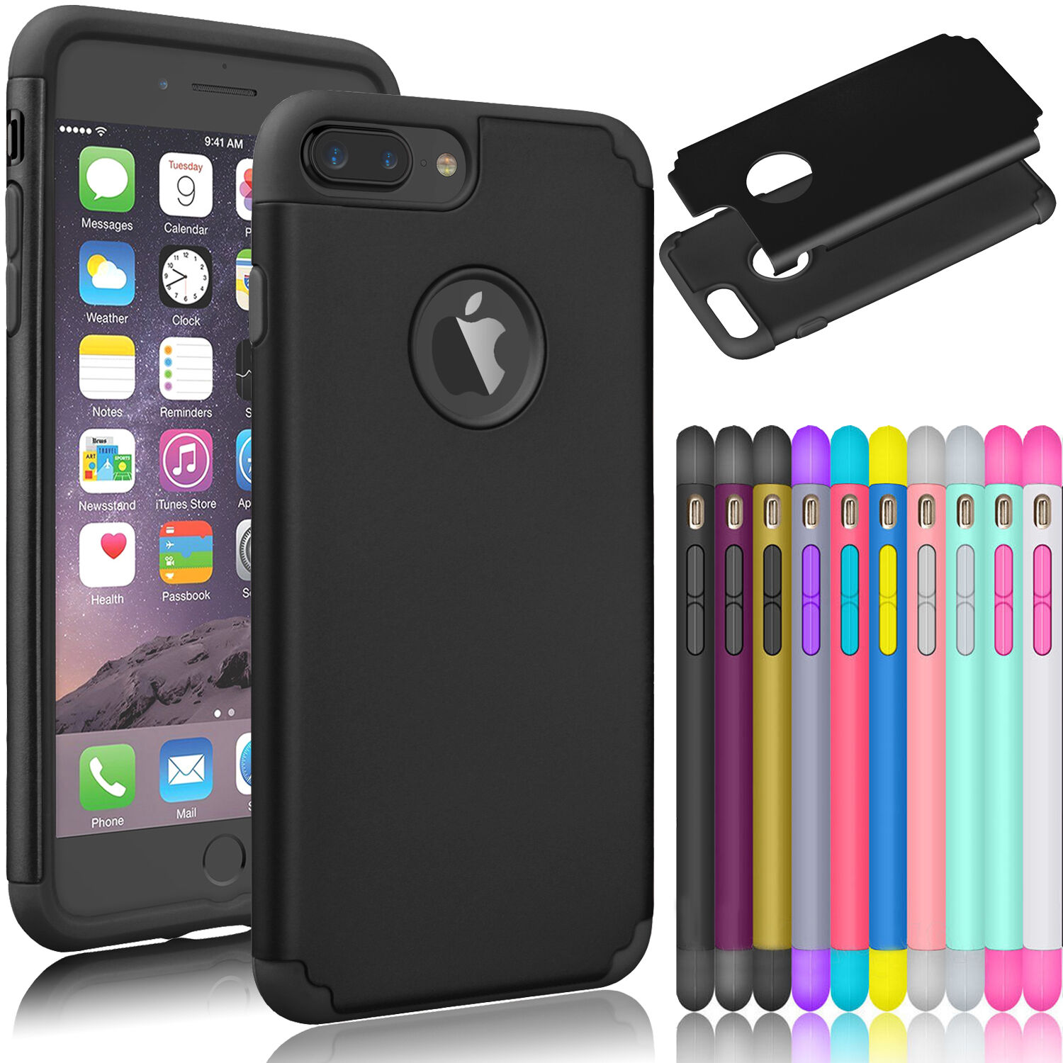 $3.99 - Luxury Shockproof Rugged Rubber Hard Case Cover For Apple iPhone 7 6S Plus +