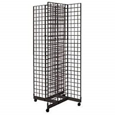 2 X 6 4-way Gridwall Display Fixture With Rolling Base- Black