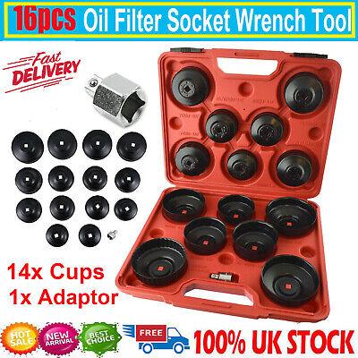 16 x Oil Filter Removal Wrench Cap Car Garage Tool Set Loosen Tighten Cup Socket