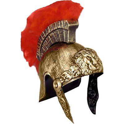 ADULT ROMAN SPARTAN CENTURION WARRIOR COSTUME HELMET GOLD W/ RED FEATHERS - Spartan Helmet Costume