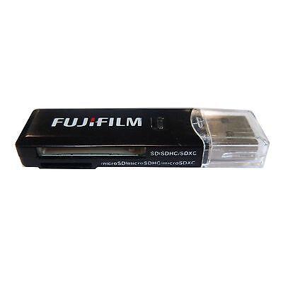 Genuine Fuji Film  2 Slot  USB card reader for SD, SDHC, SDXC, MicroSD MicroSDXC