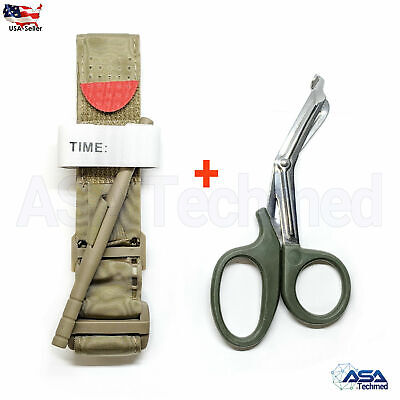One Hand Tourniquet Combat Application First Aid Handed + Free Shear Khaki