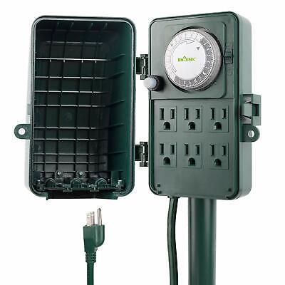 BN-LINK 24 Hour Outdoor Mechanical Timer 6 Ways Garden Power Stake Waterproof ()