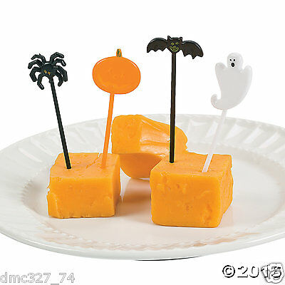Hor D'oeuvres Halloween (72 HALLOWEEN Party BAT GHOST PUMPKIN SPIDER PICKS Food Cupcakes Hors)