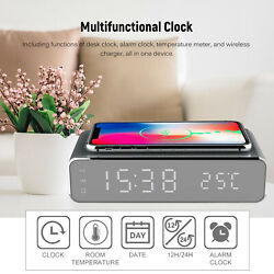Digital Wireless Charger LED Alarm Clock 12/24H Thermometer ℃/ ℉ Calendar NEW