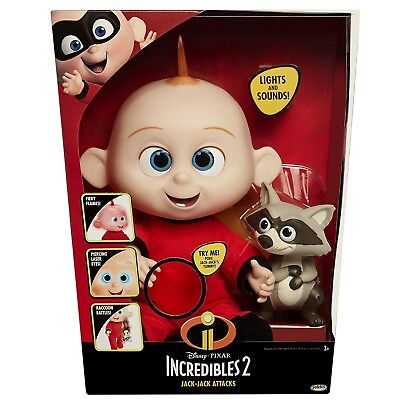 The Incredibles 2 Jack Jack Plush   Raccon Toy Figure Features Lights   Sounds