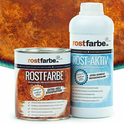 Rostfarbe SET Echter Rost als Farbe Rosteffekt Rostfarbe + Rost-Aktiv 2x 100ml
