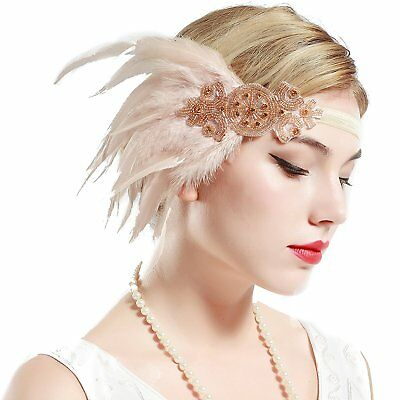Gatsby Party Wedding Headband Flapper Accessories Feather Headpiece Champagne](Flapper Headbands)