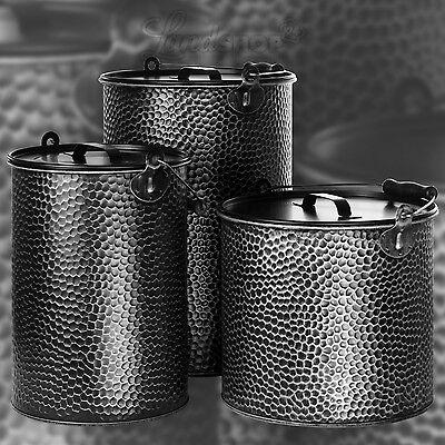 Secchio metallo CARBONE ZINCATO BATTUTO cenere camino design industriale SI / SW