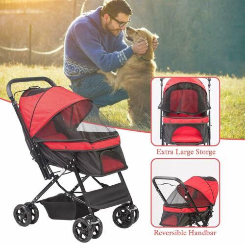 VILOBOS 4 Wheel Pet Stroller Cat Dog Puppy Folding Carrier Travel Cart Pushchair