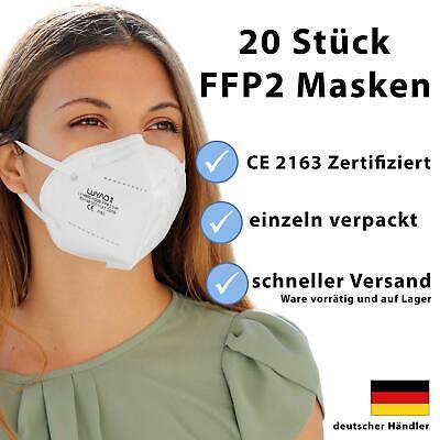 FFP2 Maske Mundschutz Schutzmaske 5-lagig Atemschutz CE zertifiziert 20 Stück