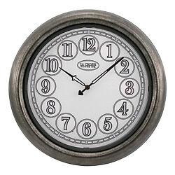403-3246 La Crosse Clock Co. 18 Indoor/Outdoor Wall Clock - Nickel Refurbished