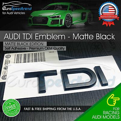 Audi TDI Matte Black Emblem Rear Trunk Lid 3D Badge OEM S Line A3 A5 A5 A6 A7 Q5