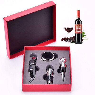 Wine Bottle Opener Set 4 Pcs Gift Box Corkscrew Stopper Pourer Accessories Kit