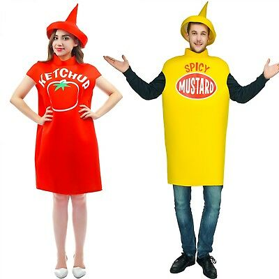 Spicy Halloween-kostüme (Tomato Ketchup Costume Dress Spicy Mustard Hat Tops Casual Halloween Design New)