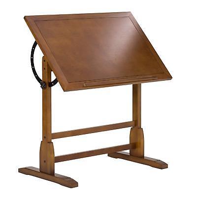 Used, Wooden Drafting Table Oak Vintage Style Rustic Blueprint Station Work Desk Art for sale  USA