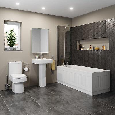 Modern Bathroom Suite Toilet Basin Sink Full Pedestal Single Ended 1700 Bath
