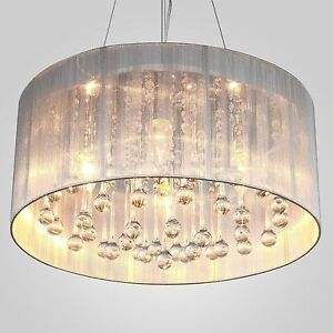 MODERN DRUM SHADE CRYSTAL CEILING CHANDELIER PENDANT LIGHT 2015