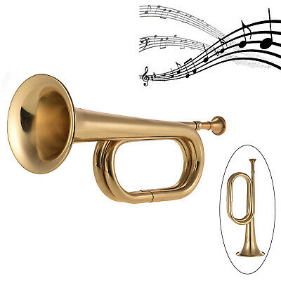 Bugle Trumpet Brass Copper Cavalry Horn with Mouthpiece for Beginner Jazz H8O7