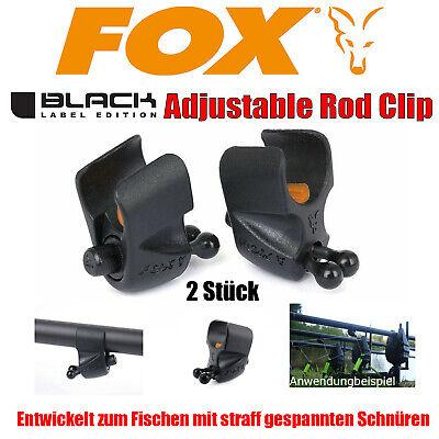 Fox Black Label Adjustable Rod Clip 2Stück Karpfenangeln Schnurclip verstellbar