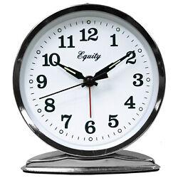 24014 Equity by La Crosse Wind-Up Loud Bell Analog Quartz Alarm Clock - Chrome