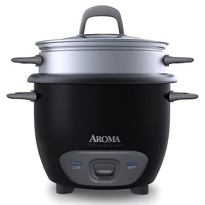 Small Coal-black Rice Cookers Vegetable Food Steamer 1-3 Cups by Aroma Brand New