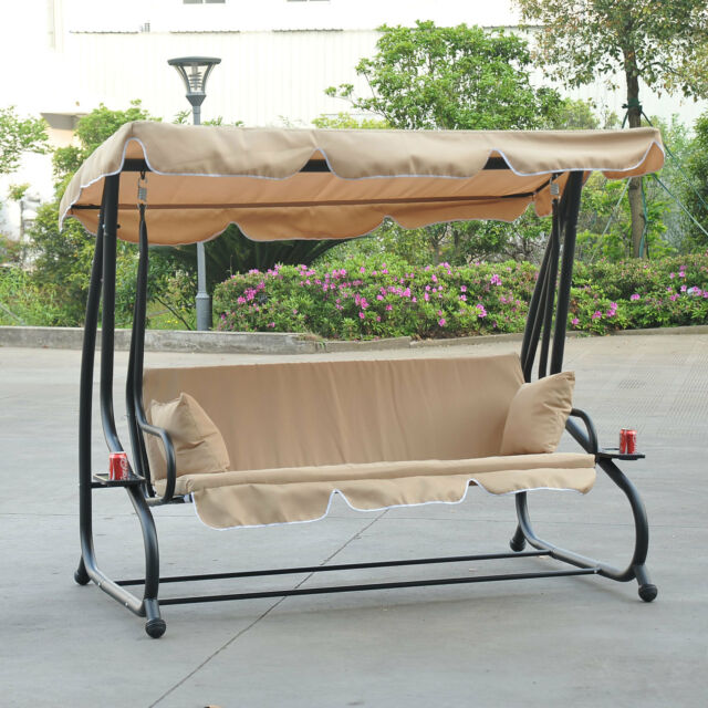 Outdoor 3-Person Patio Porch Swing Hammock Bench Canopy Loveseat  Convertible Bed - 3-person Porch Swing Bed Canopy Cup Holders Hammock Patio Lawn