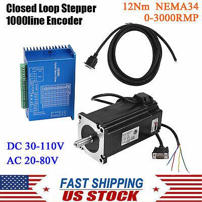 12nm Hybrid Servo Driver Closed Loop Stepper Motor Nema34 Fr Cnc Router Engraver