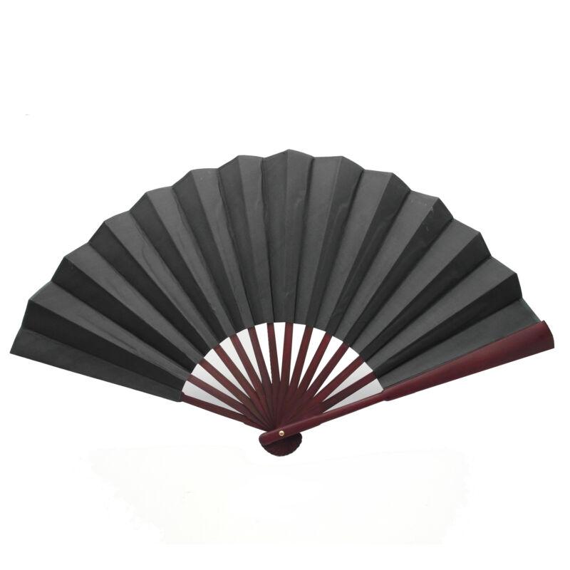Chinese Nylon-Cloth Handheld Folding Hand Fan Drawing Dancing Performance Black
