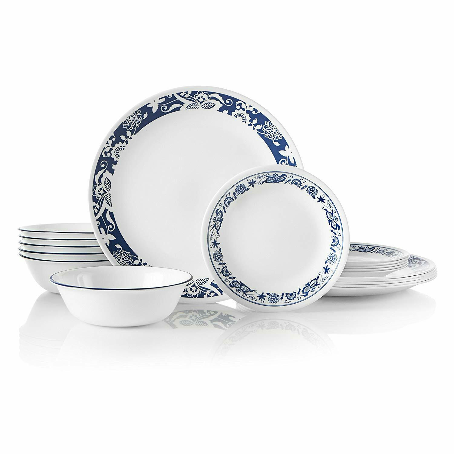 New Corelle 1134333 18 Piece Dinnerware Dining Set, True Blu
