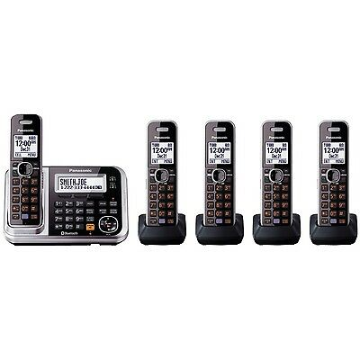 Panasonic Link2Cell Cordless Phone KX-TG7875S DECT 6.0 5 Handsets Bluetooth USB