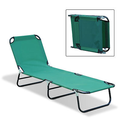 Outdoor Sun Chaise Lounge Recliner Patio Camping Cot Bed Beach Pool Chair Fold - Green Patio Chaise Lounge