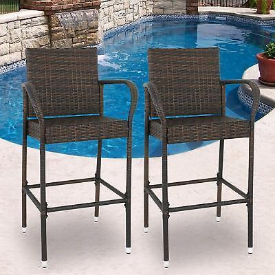 Bar Stool Outdoor Patio - Wicker Bar Stool Outdoor Backyard Rattan Chair Patio Furniture Chair Set of 2