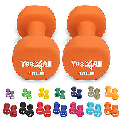 Купить Yes4All Neoprene Fixed Weight Dumbbell - Yes4All Neoprene Coated Dumbbells Hand Weight Sets Non-Slip Grip 2 - 20 lbs Pair