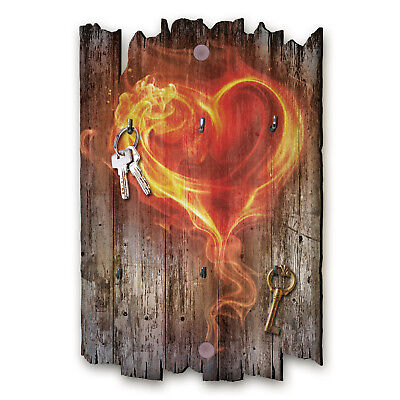 Flammendes Herz Schlüsselbrett Hakenleiste Landhaus Shabby chic aus Holz 30x20cm (Haken Schlüsselbrett)