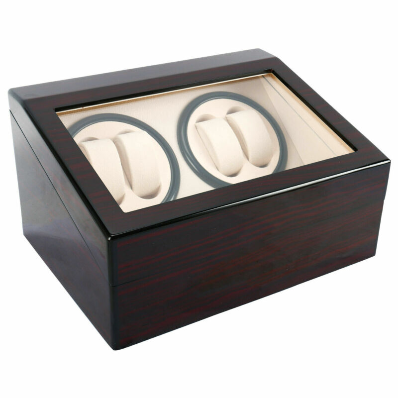 4+6 Automatic Watch Winder Deluxe Wooden Dual Watch Box Display Case Rotating