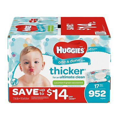 Huggies One & Done Baby Wipes, Scented (952 ct.)  NEW