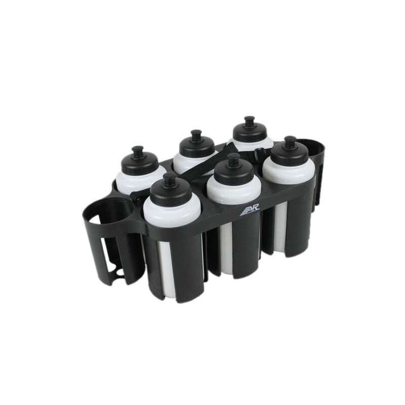 A&R Sports Hockey Water Bottle Puck Carrier with 6 White 1 Liter Pop Top Bottles